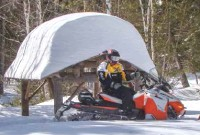 Trailside snowmobile lodging with gas onsite