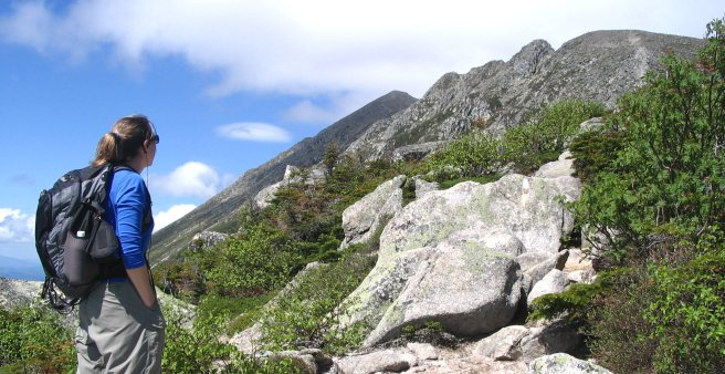 Hiking on Mt Katahdin (view of Helon Taylor Trail)