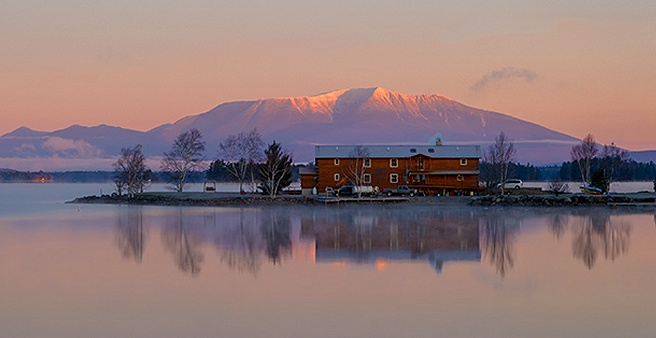 Lodge and Mt Katahdin at Sunrise
