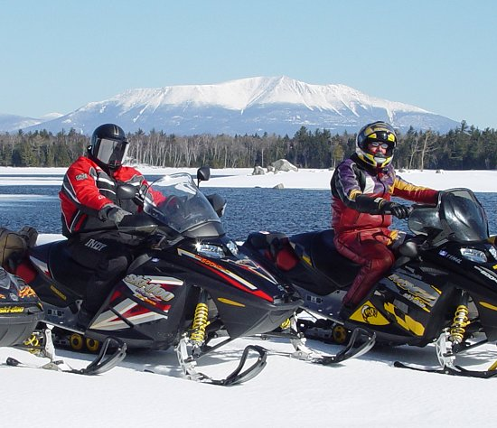 Katahdin area Snowmobile riding well into spring - April 13 shown here