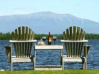 Lakefront bed and breakfast lodging with Mount Katahdin view