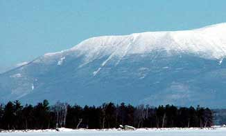 Snowmobiling offers many views of Mt. Katahdin