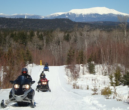 Mount Katahdin view from Jomary Parkway Crossover snowmobile trail