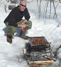 Snowmobile trail side Cookout in Katahdin region