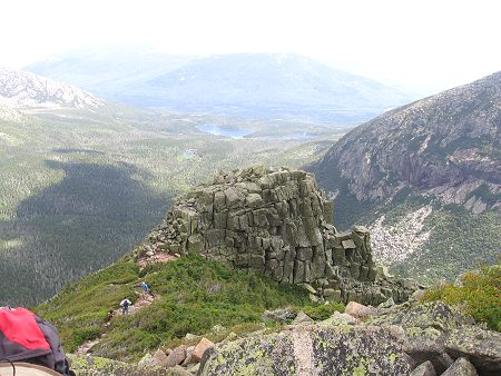 First Cathedral on Mt Katahdin with Basin Pond in background