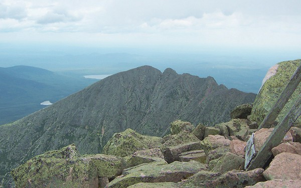 Looking east from Baxter Peak with Katahdin Lake in background