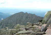 Knife Edge Trail looking east from Baxter Peak with Katahdin Lake in background