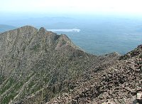 Knife Edge Trail with Katahdin Lake in background
