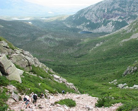View of Mt Katahdin South Basin from Saddle Slide