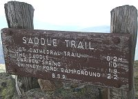 Saddle Trail sign at Baxter Peak